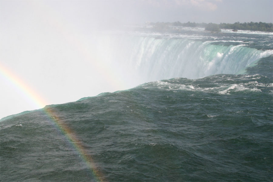 Picture of the edge of Niagara Falls (with a Rainbow!)